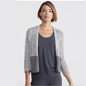 Eileen Fisher Gray Color Block Cardigan Sweater